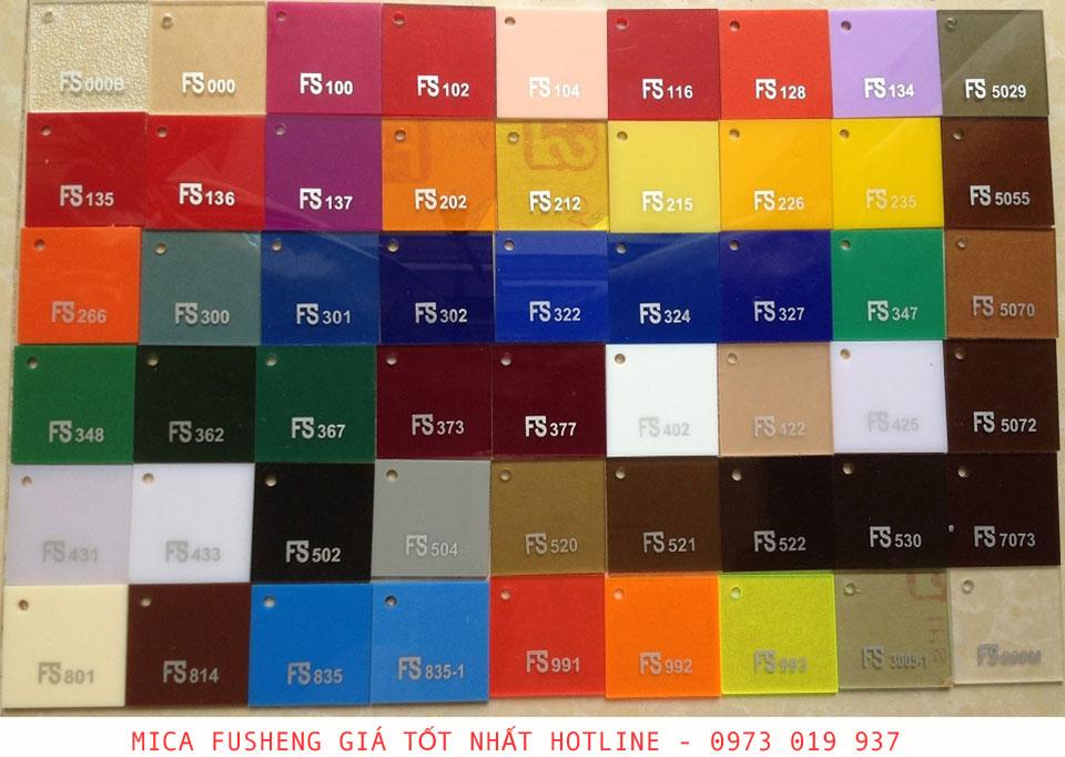Bảng mã màu Mica FuSheng Acrylic