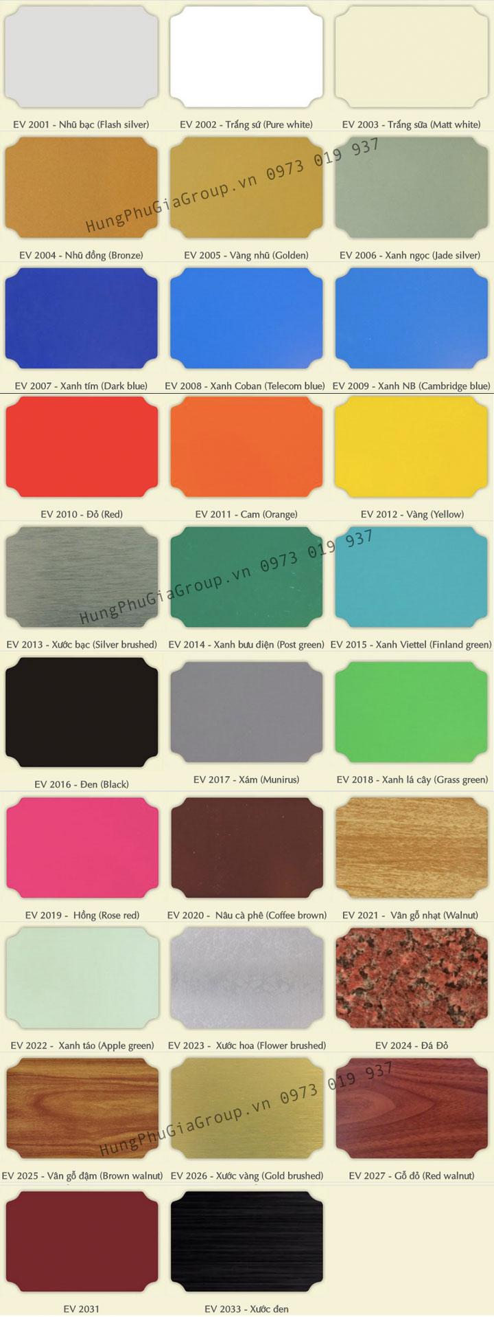 Bảng màu Alu Alcorest trong nhà PET