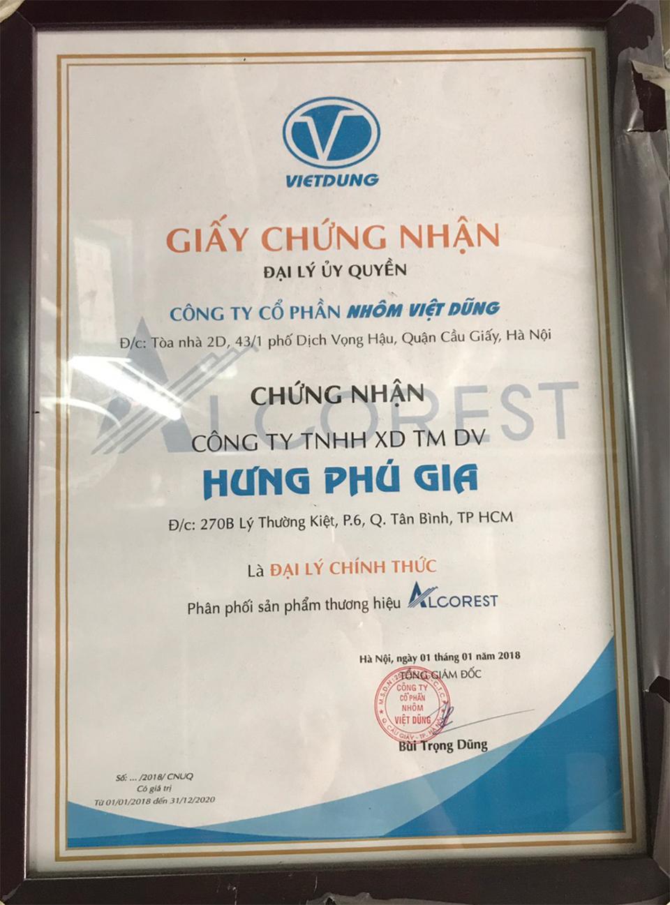 Giấy chứng nhận đại lý chính thức của Nhôm Việt Dũng