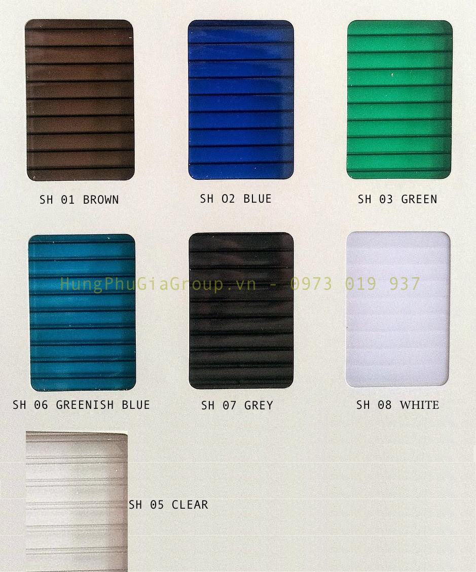 Màu sắc tấm lợp Polycarbonate sunlite ThaiLand