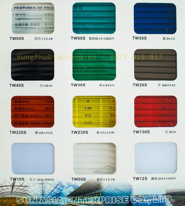 Màu sắc tấm Polycarbonate queenlite rỗng ruột Đài Loan