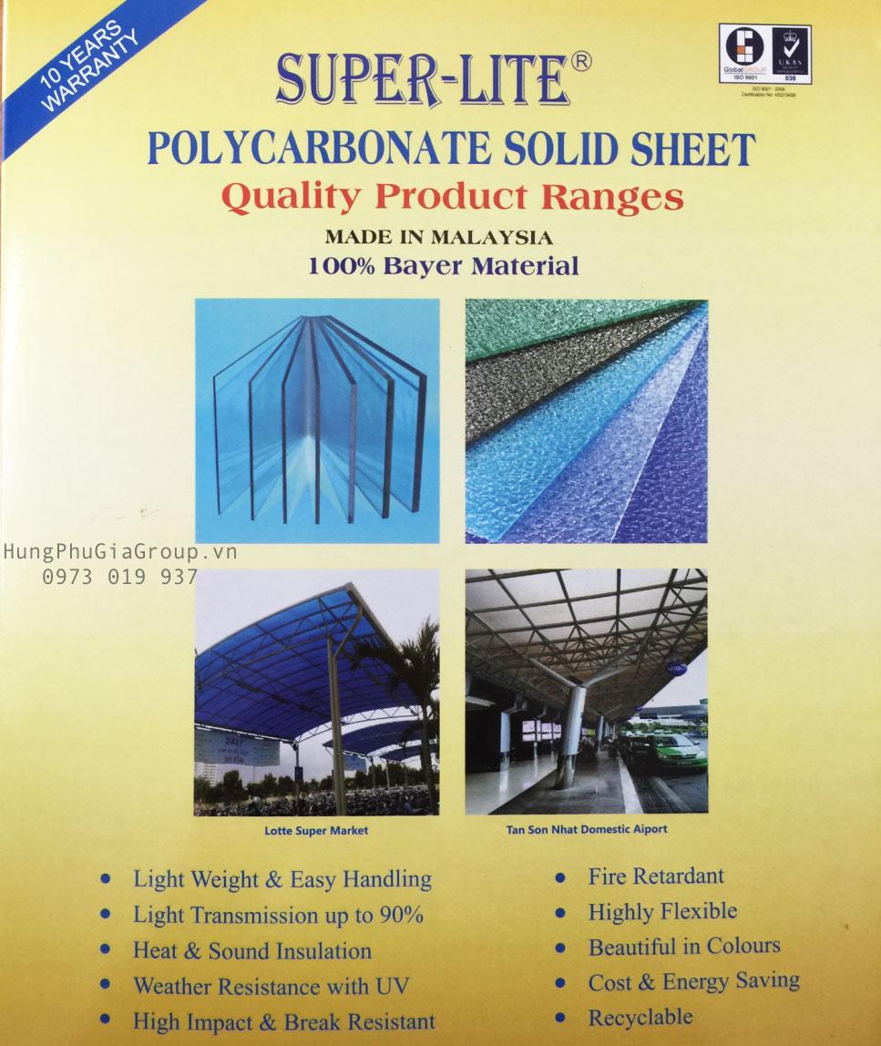 Polycarbonate super lite đặc Malaysia PC Sheet