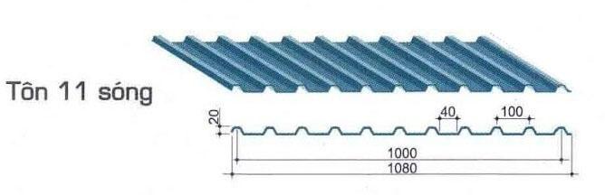 Tôn 11 sóng vuông sợi thủy tinh